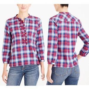 J.Crew Factory Women Ruffle flannel shirt Plaid